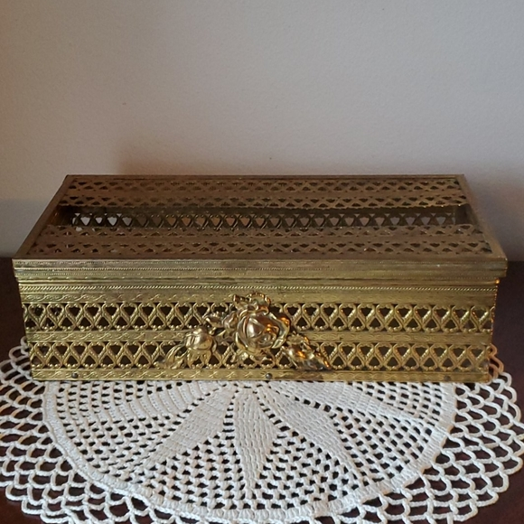 Vintage Gold Tone Metal Hinged Tissue Box Cover